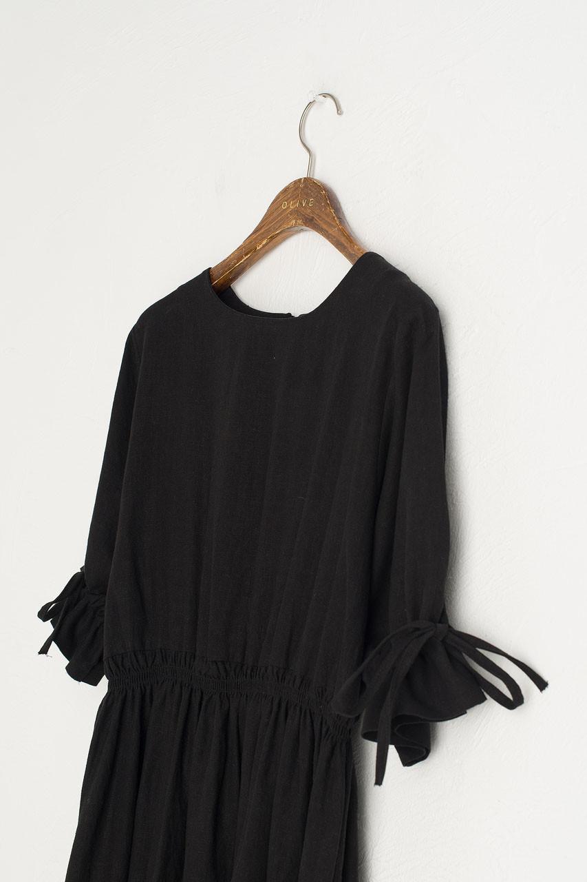 Ribbon Sleeve Linen Dress, Black