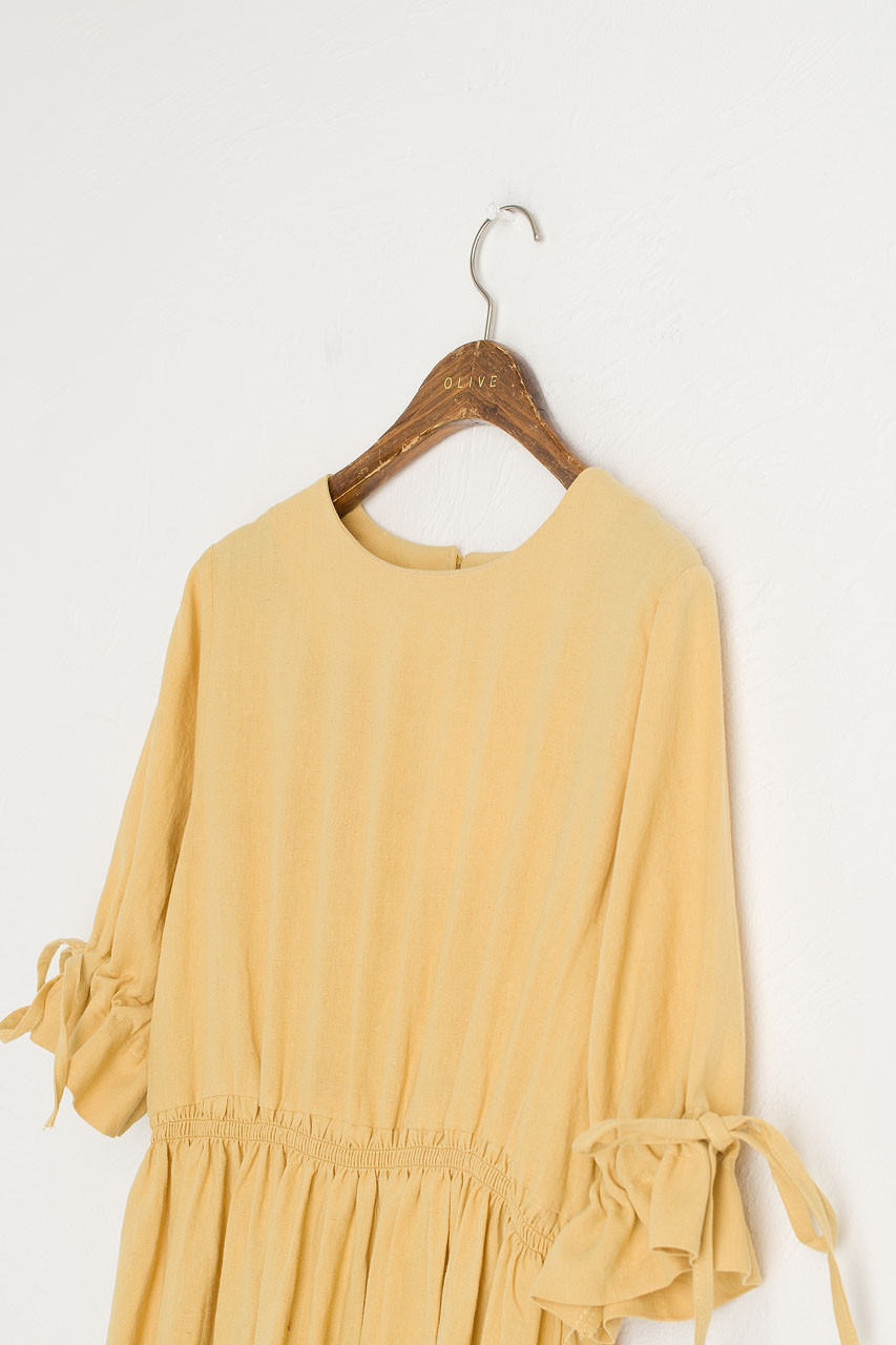 Ribbon Sleeve Linen Dress, Mustard