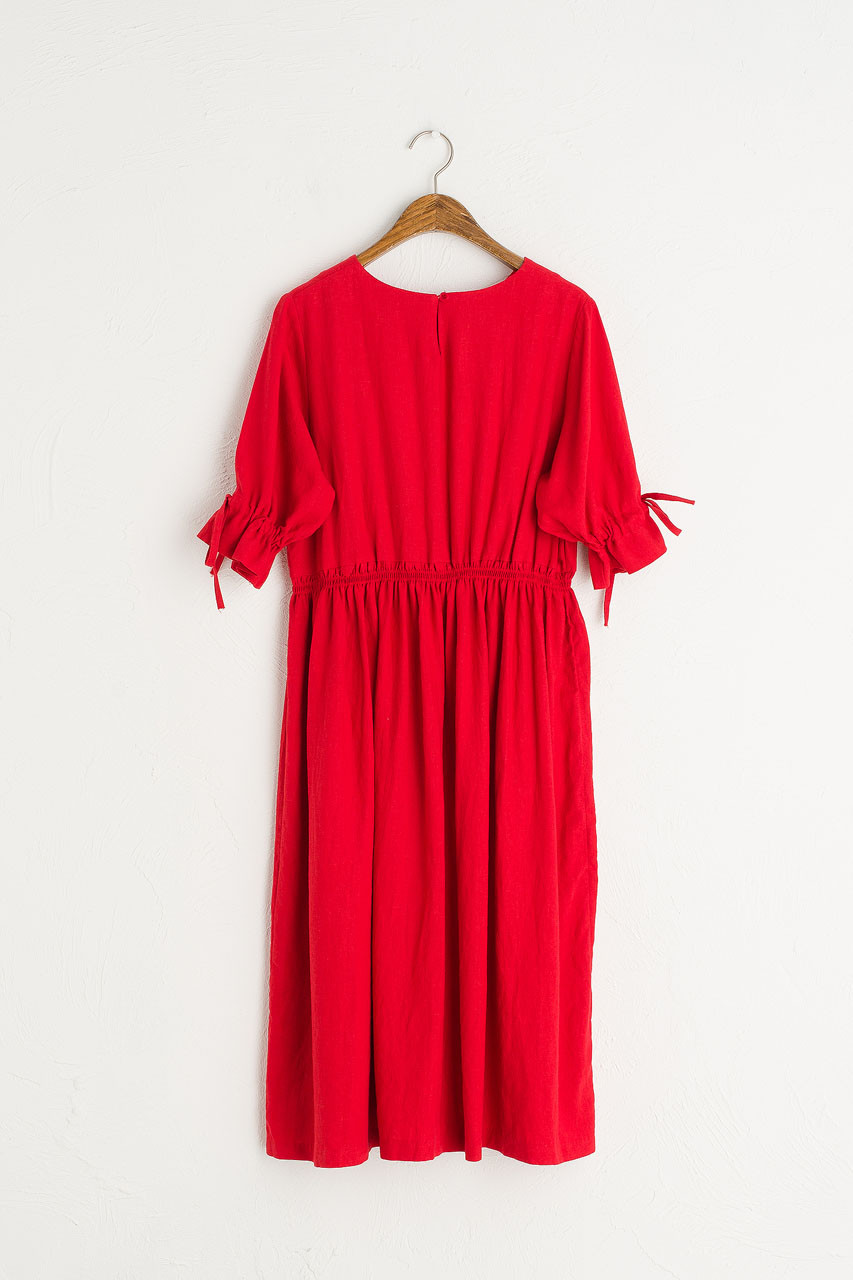 Ribbon Sleeve Linen Dress, Red