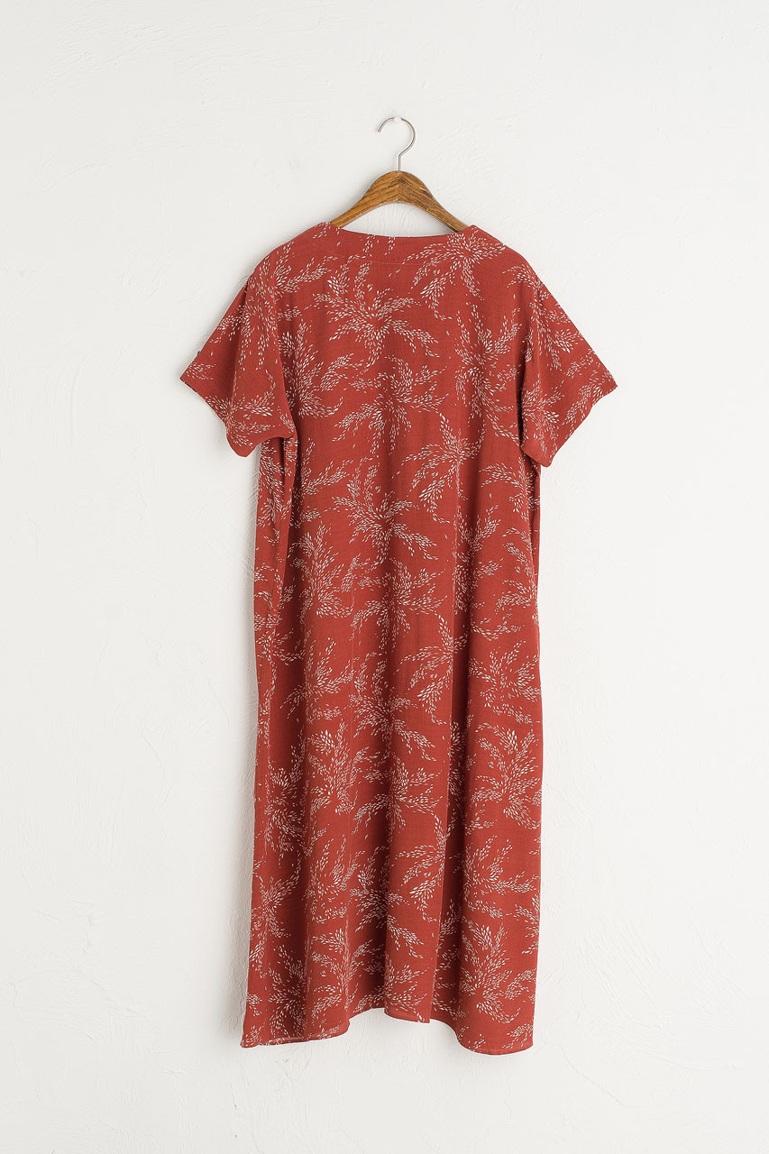 Barley Print Button Down Dress, Red