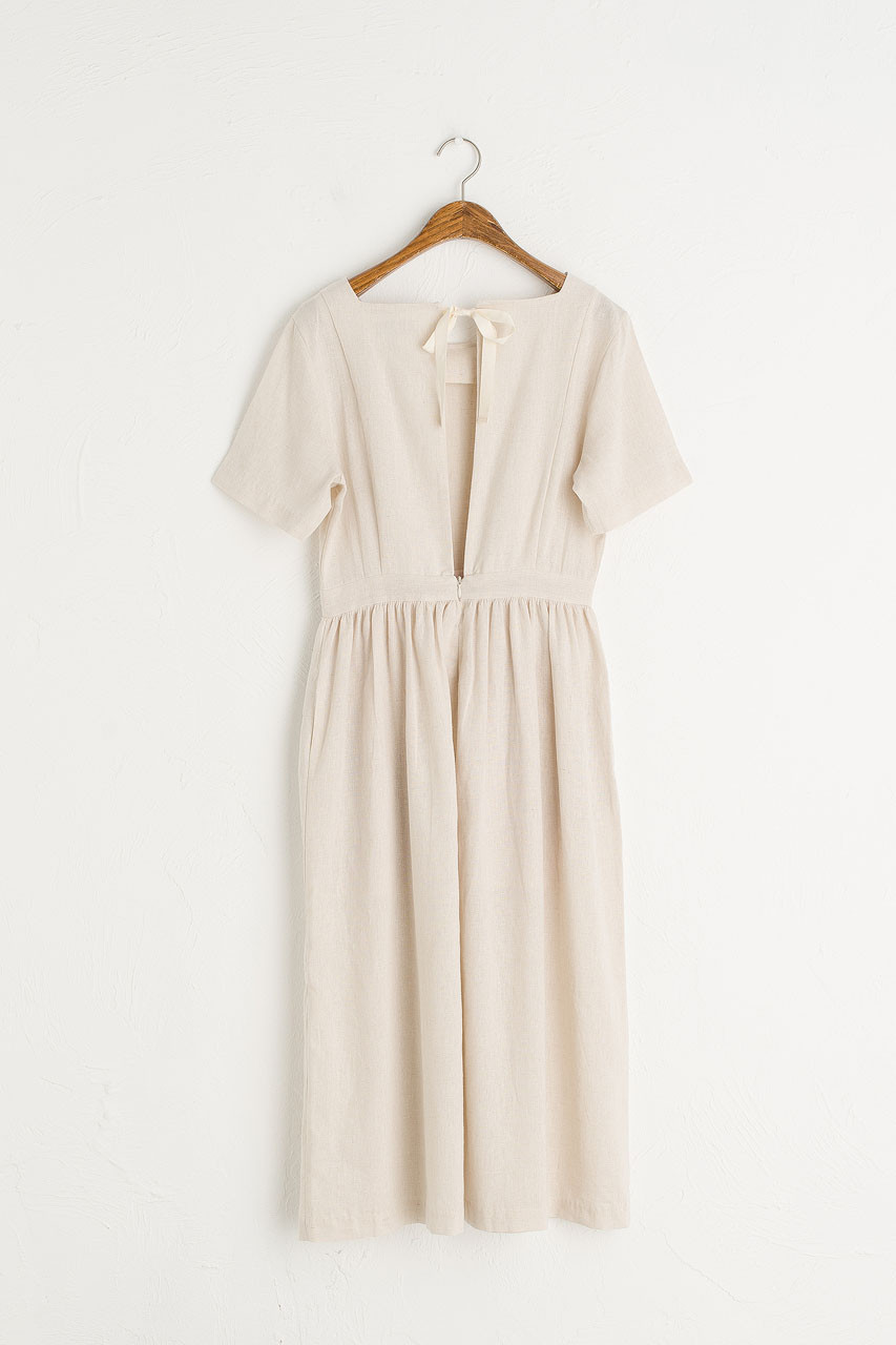 Open Tie Back Long Dress, Oatmeal