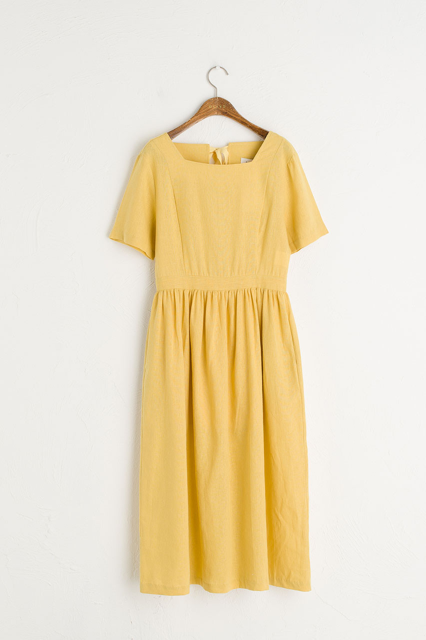 Open Tie Back Long Dress, Mustard