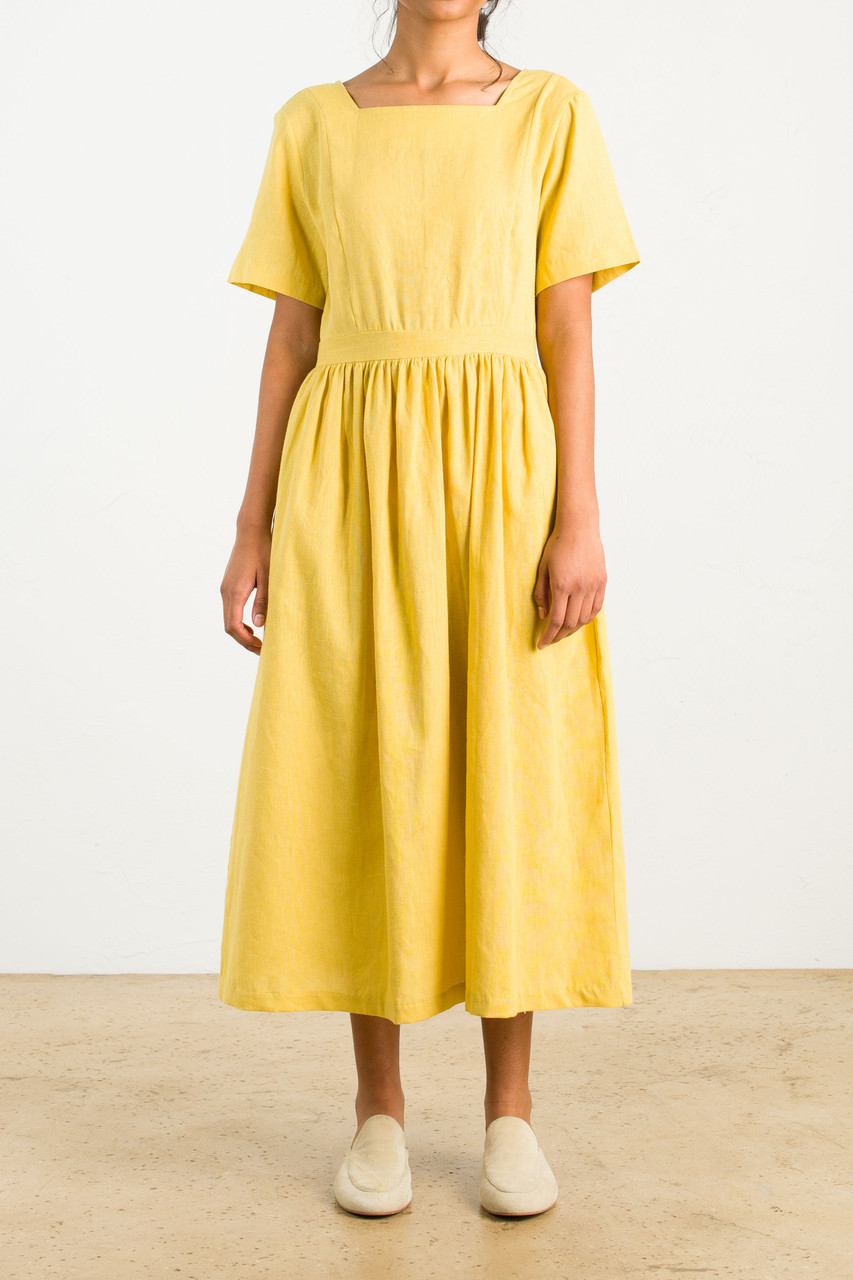 Tie Back Dress, Mustard