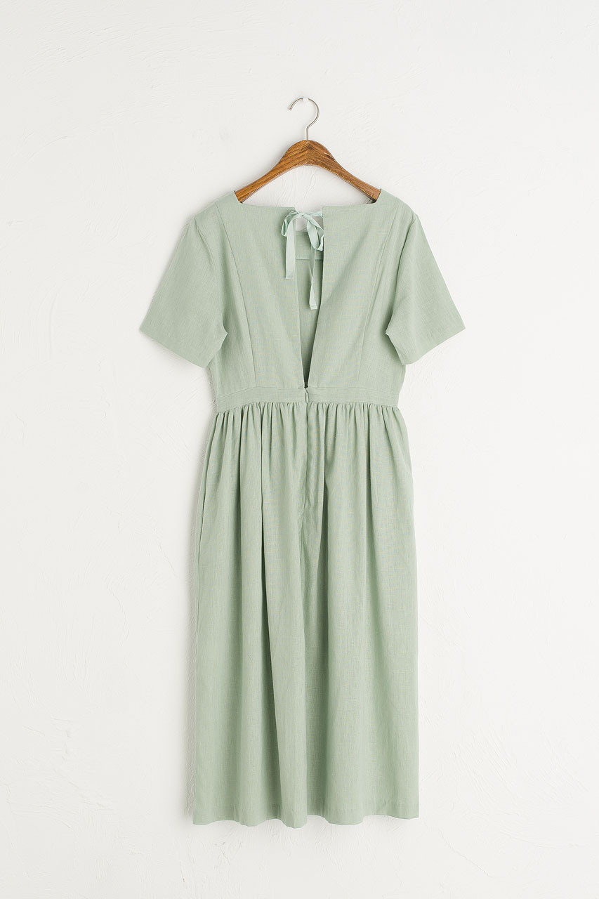 Open Tie Back Long Dress, Mint