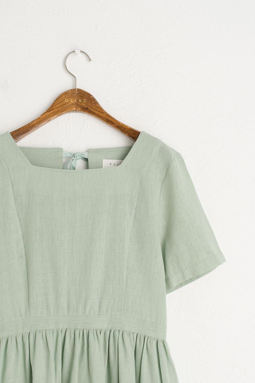 Open Tie Back Long Dress, Mint