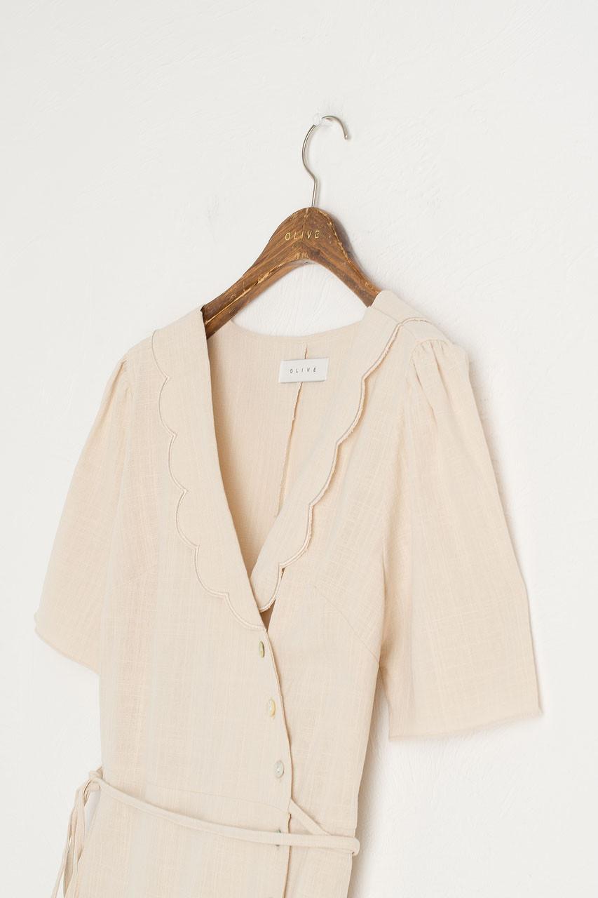 Scollop Collar Wrap Dress, Beige