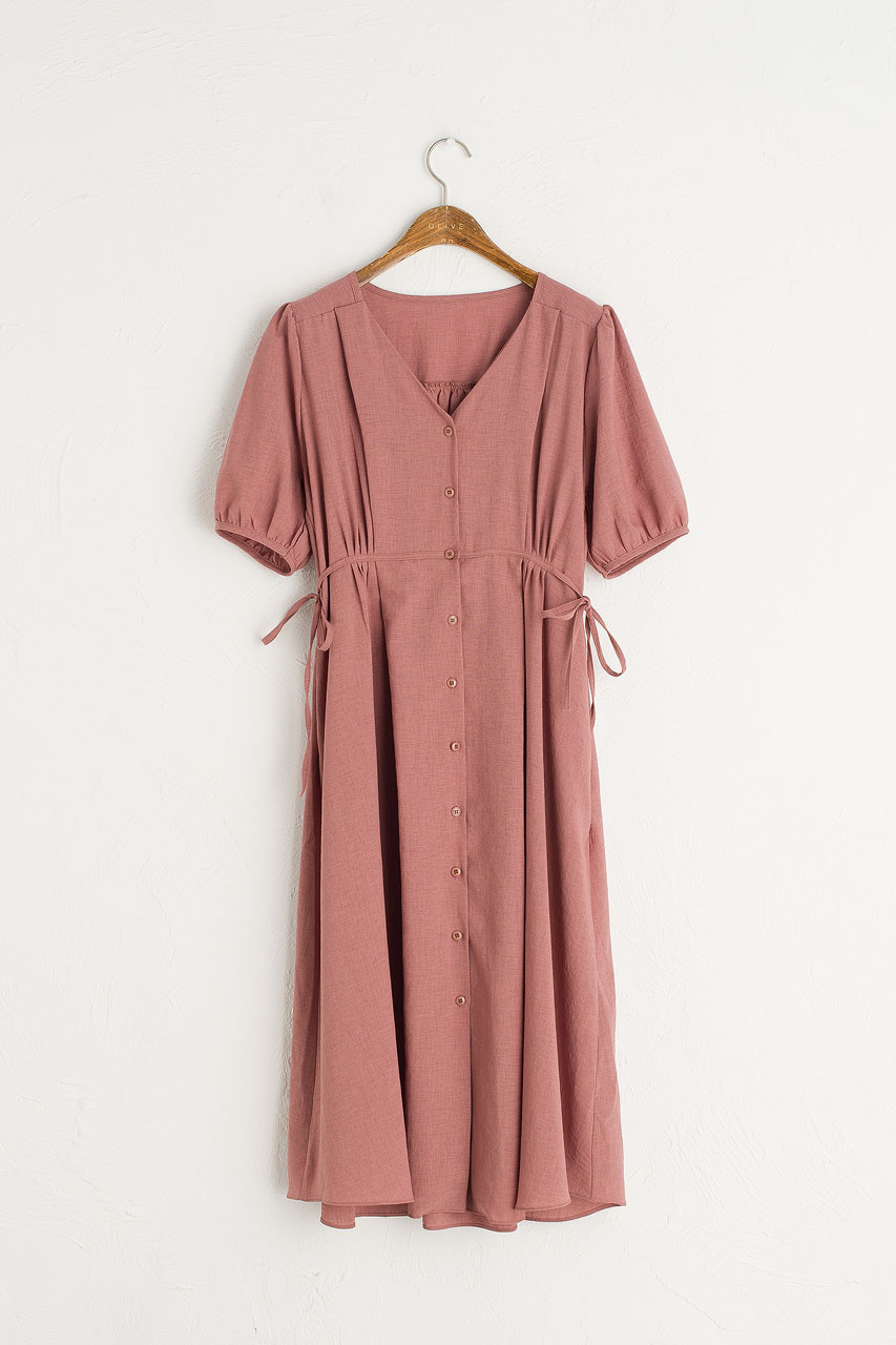 Side Ribbon Puff Sleeve Long Dress, Brick