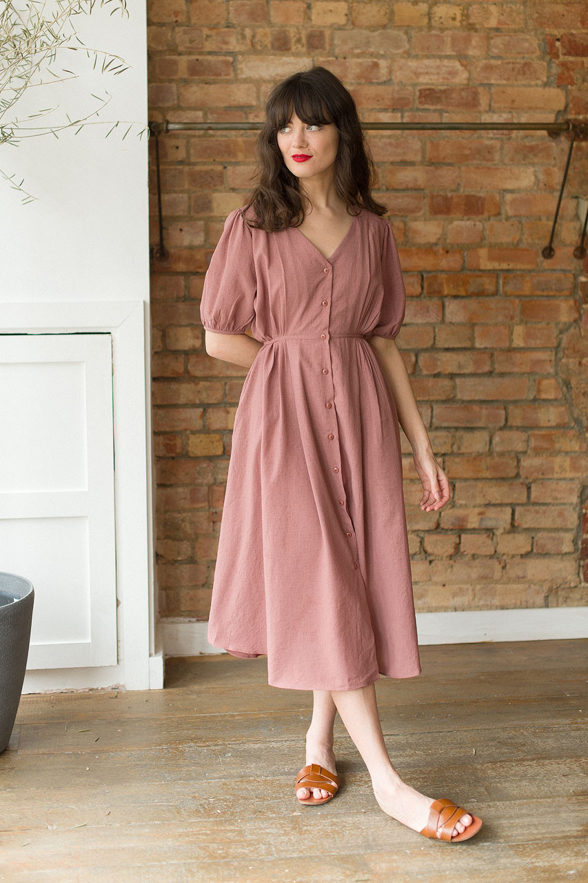Side Ribbon Puff Sleeve Long Dress, Brick