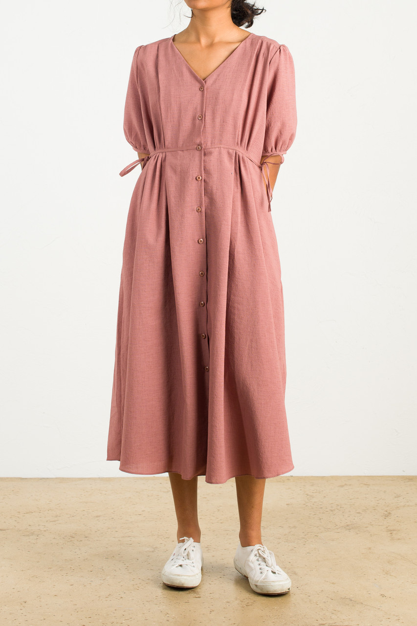 Side Ribbon Puff Sleeve Long Dress, Sage