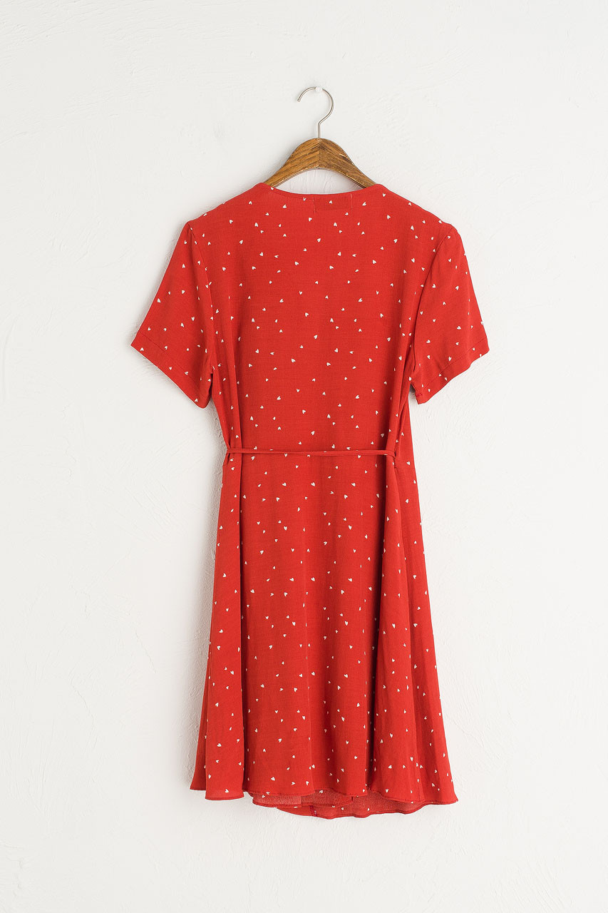 Heart Print Wrap Dress, Red