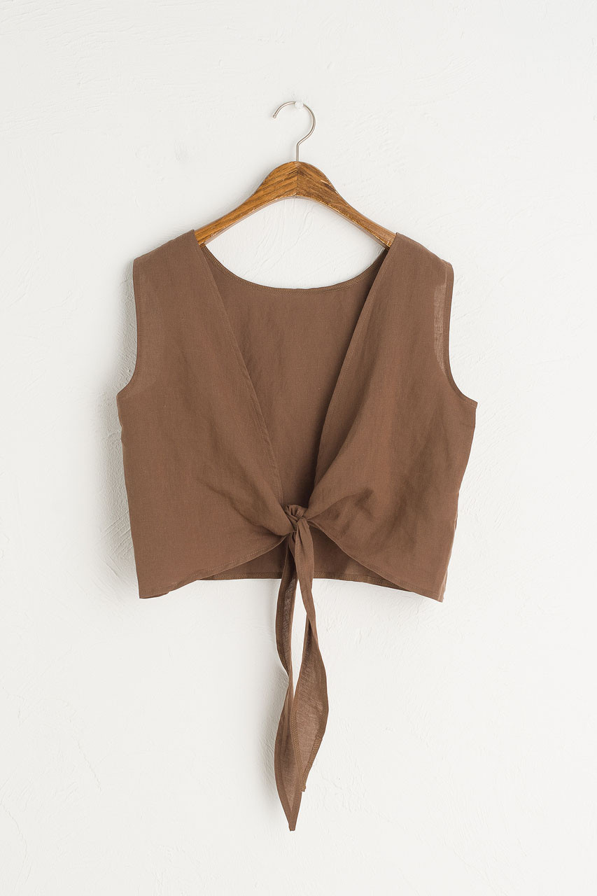 Marrisa Open Back Top, Brown