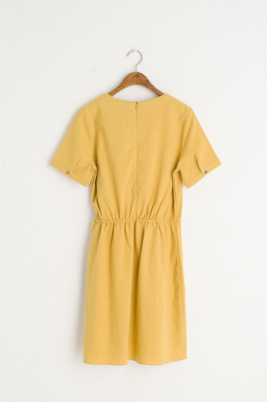 Tulip-Shape Wrap Dress, Mustard