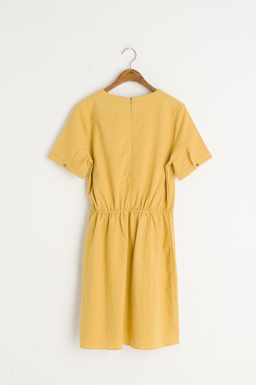 Tulip-Shape Wrap Dress, Mustard