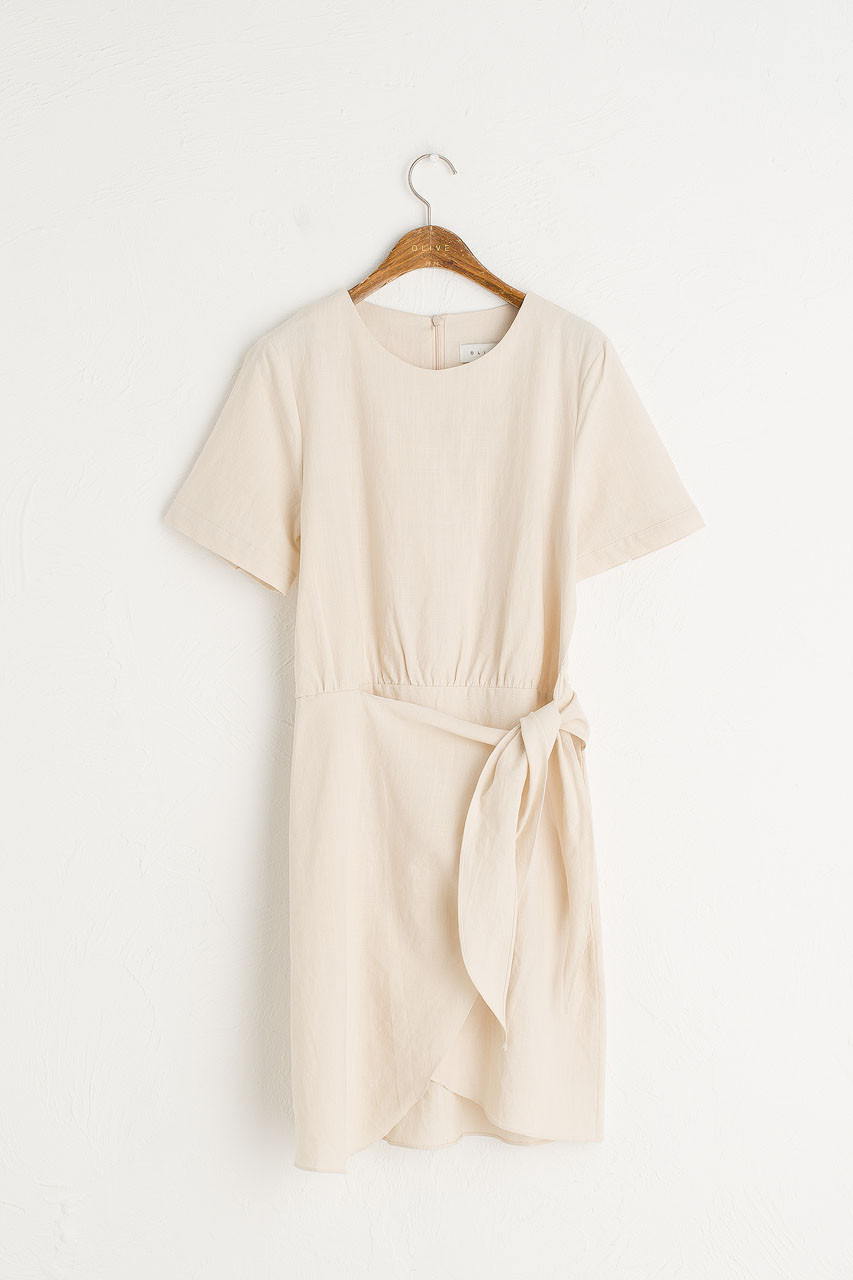Tulip-Shape Wrap Dress, Light Beige