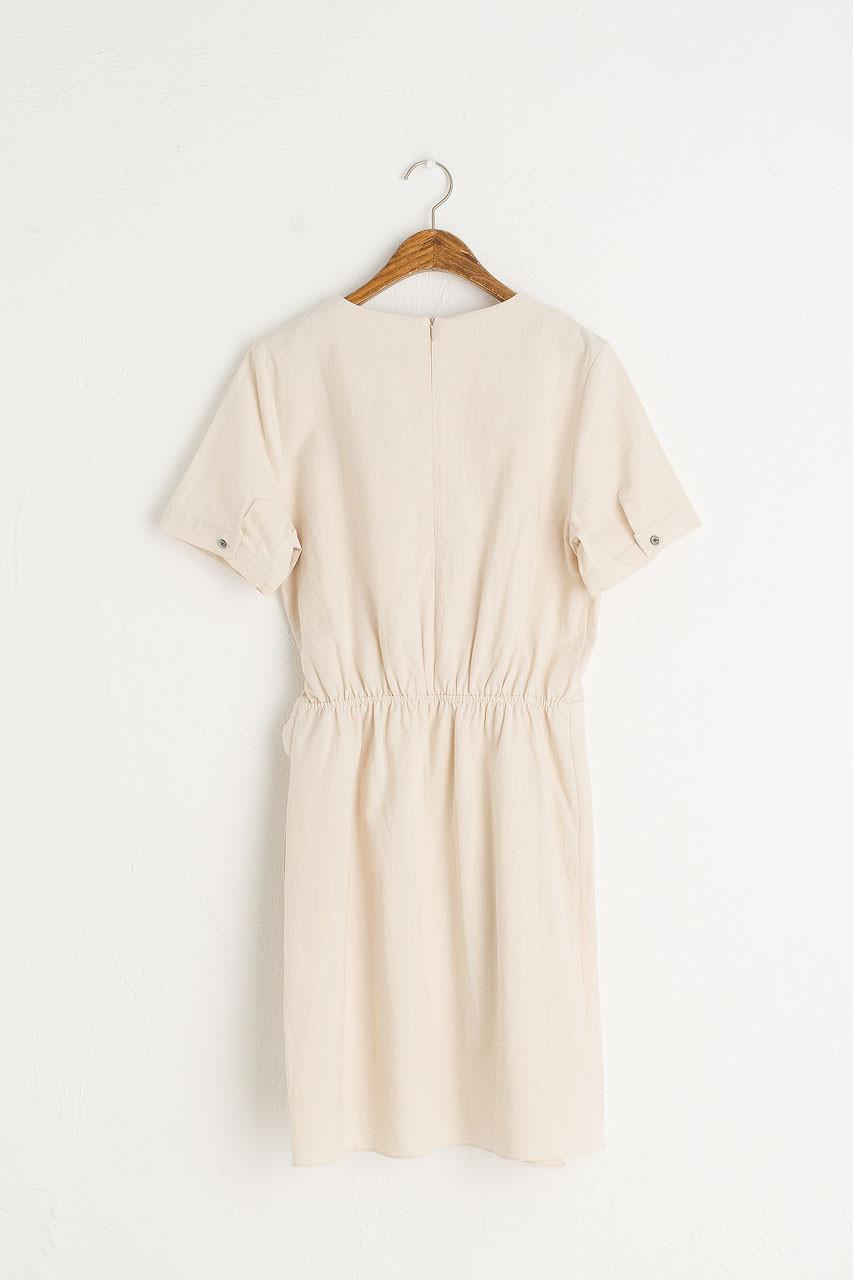 Tulip-Shape Wrap Dress, Light Beige