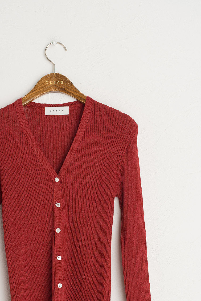 Ribbed Summer Cardigan, Red