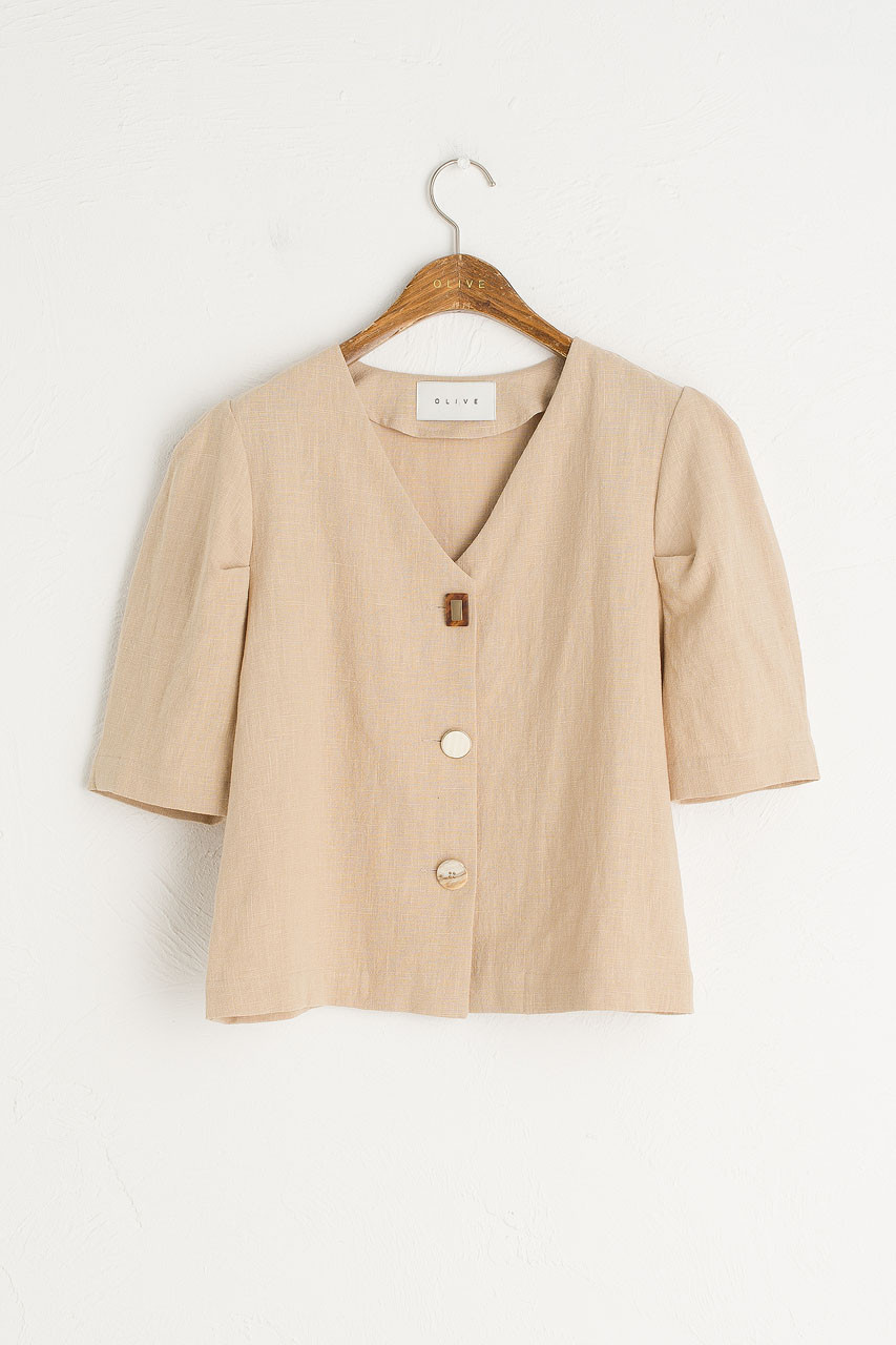 Mismatch Button Blouse, Beige