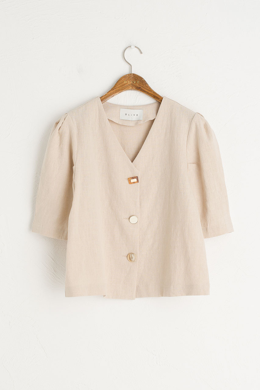 Mismatch Button Blouse, Light Beige