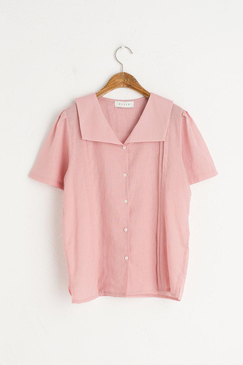 Sailor Collar Linen Blend Blouse, Pink
