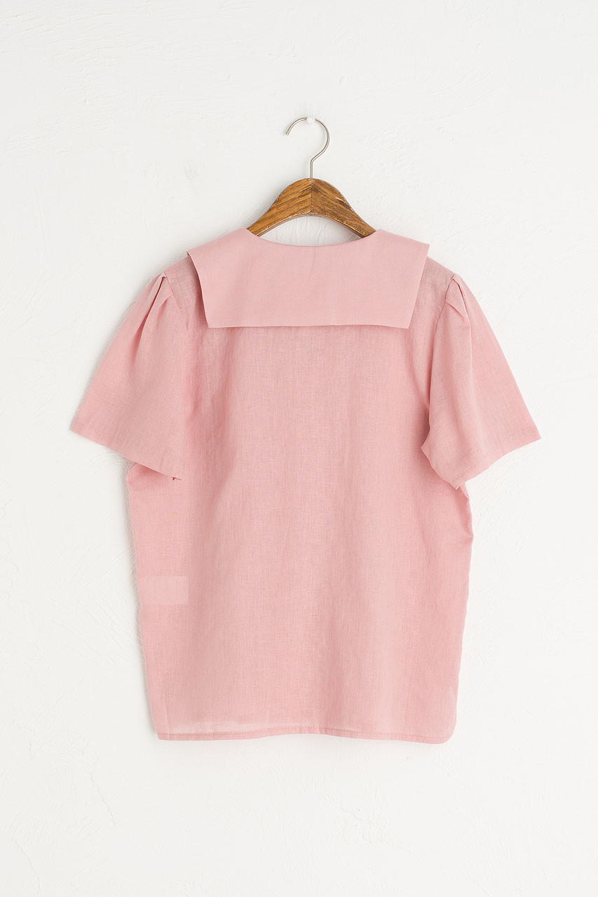 Sailor Collar Linen Blend Blouse, Pink