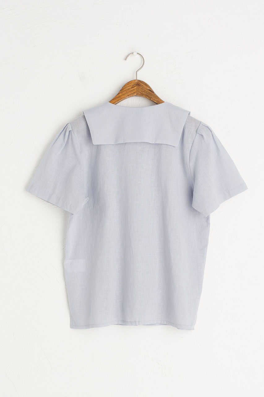 Sailor Collar Linen Blend Blouse, Pale Blue