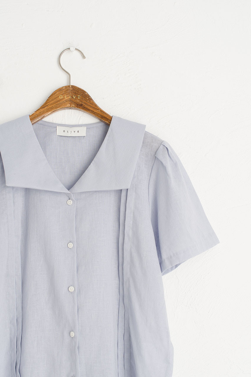 Sailor Collar Linen Blend Blouse, Pale Blue