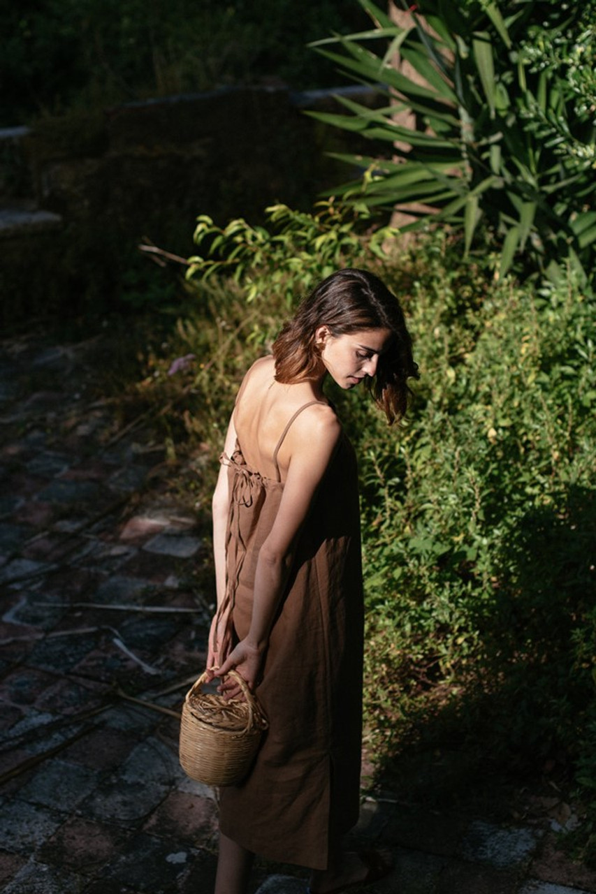 Tie Back Cami Dress, Brown