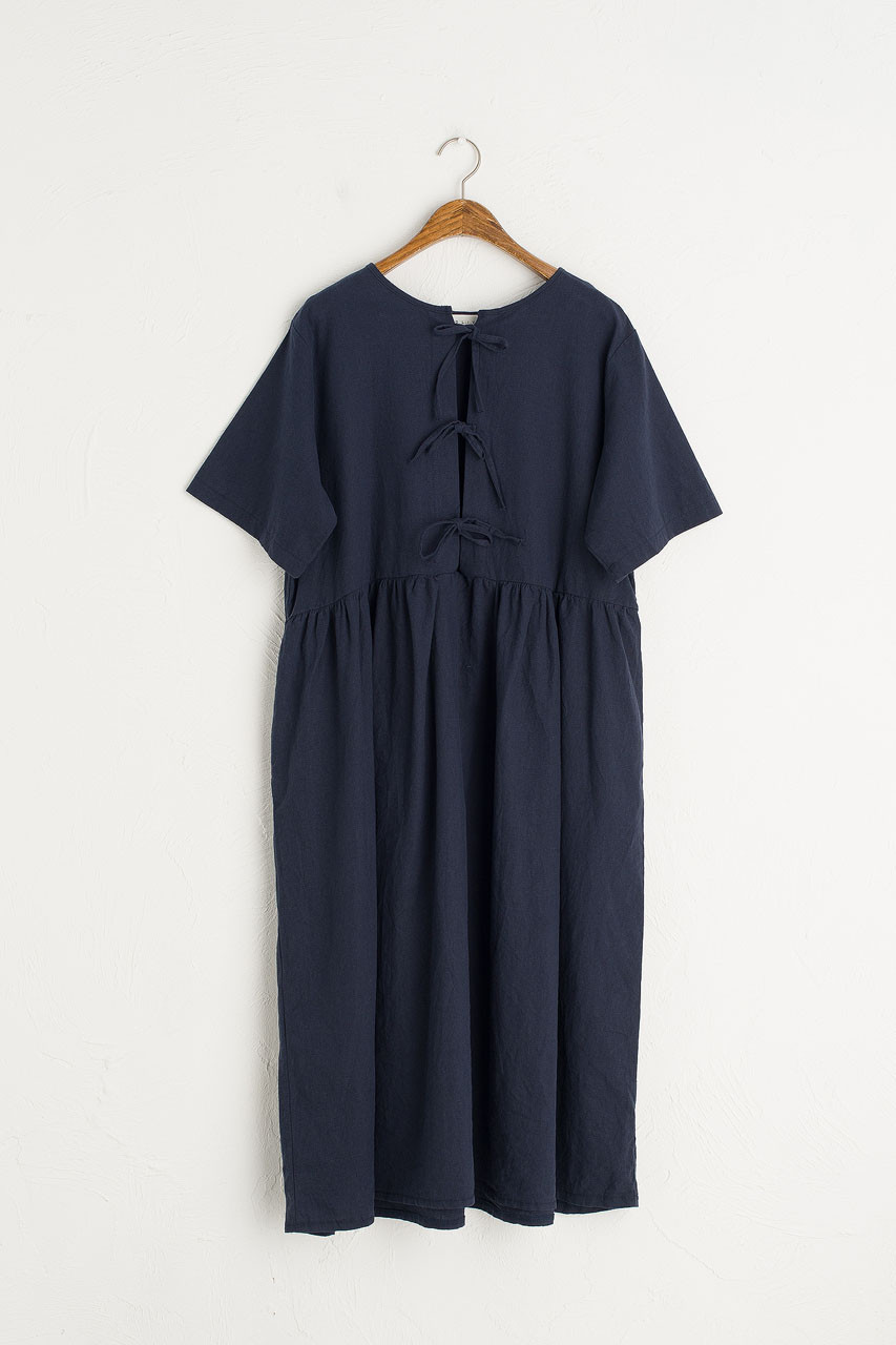 Two Way Ribbon Point Dress, Navy