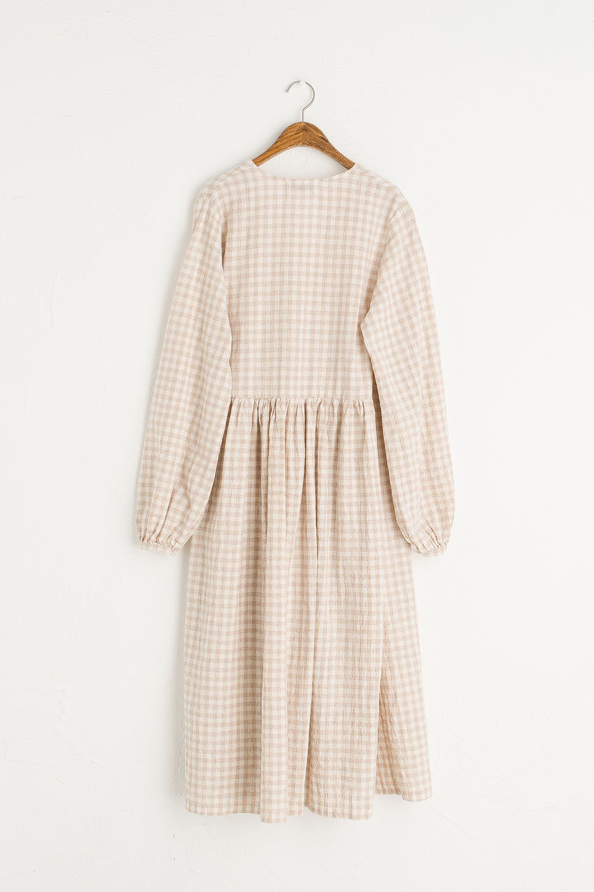 Boxy Gingham Wrap Dress, Beige