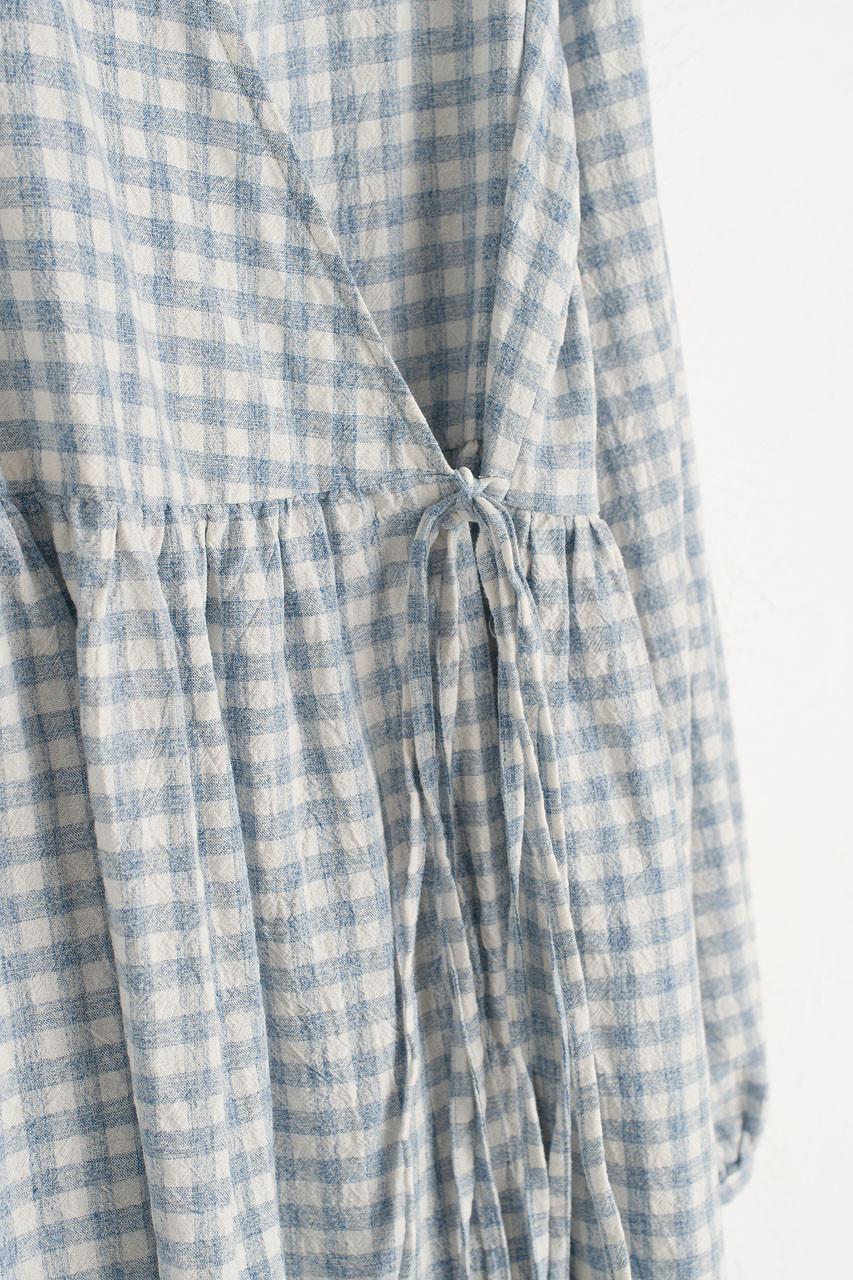 Boxy Gingham Wrap Dress, Blue