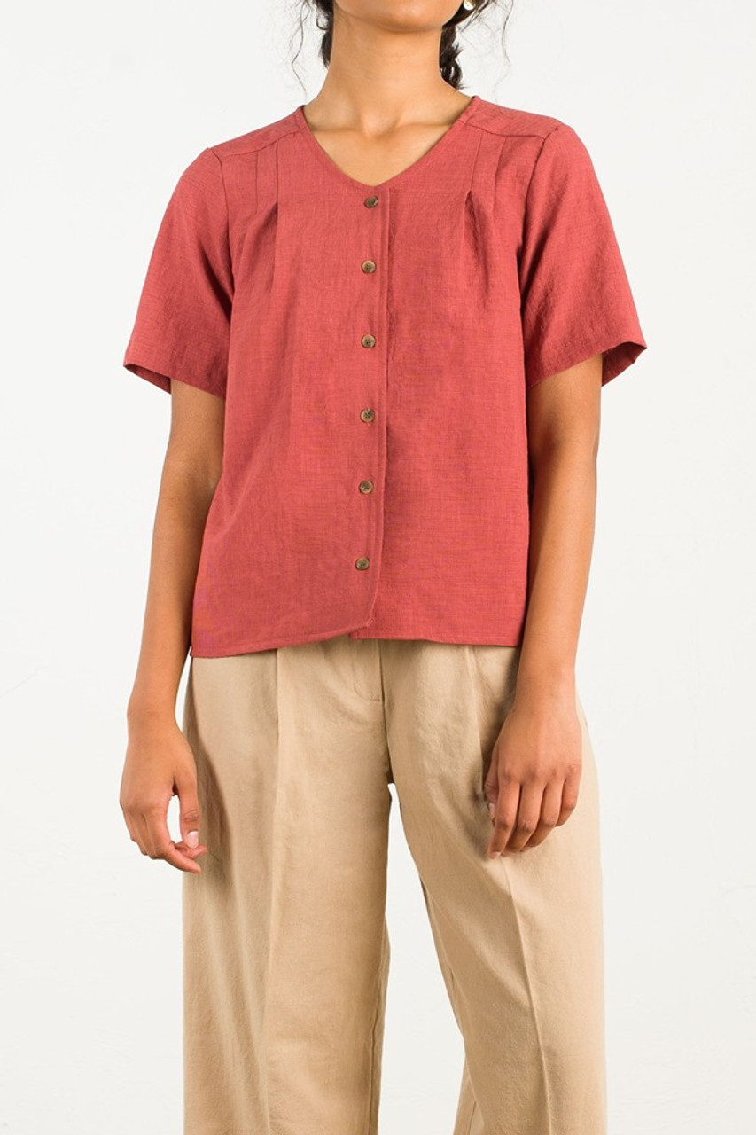 Mia Pleated Blouse, Brick
