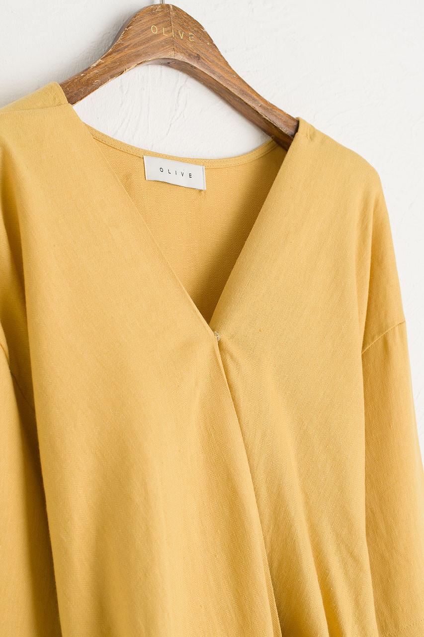 Herringbone V Neck Dress, Mustard