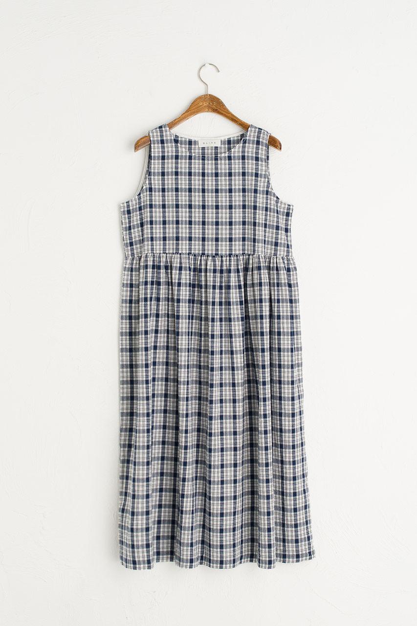 Summer Check Sleeveless Dress, Navy