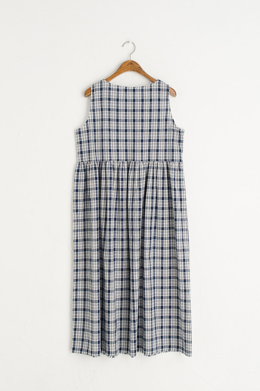 Summer Check Sleeveless Dress, Navy