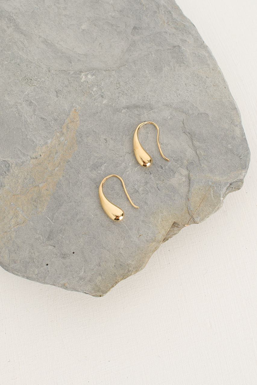 Gold Drop Earrings, 18K Gold Plated