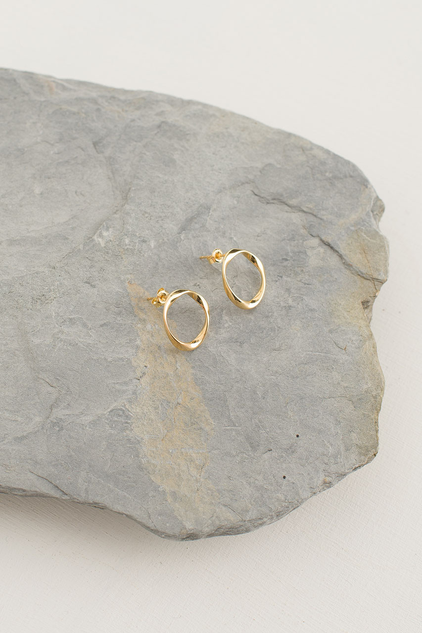 Gold Circle Stud, 18K Gold Plated
