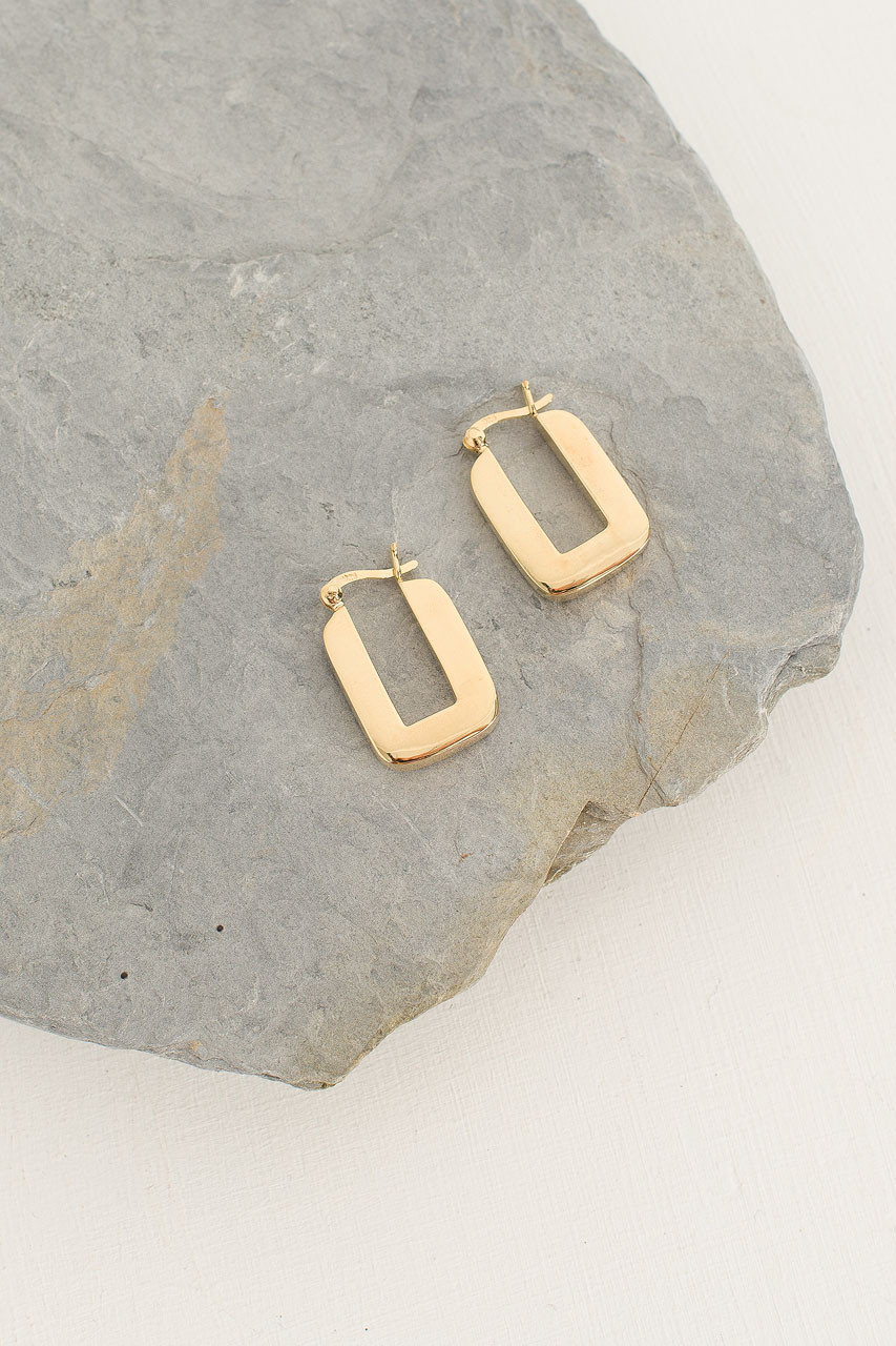 Gold Mini Square Hoop, 18K Gold Plated