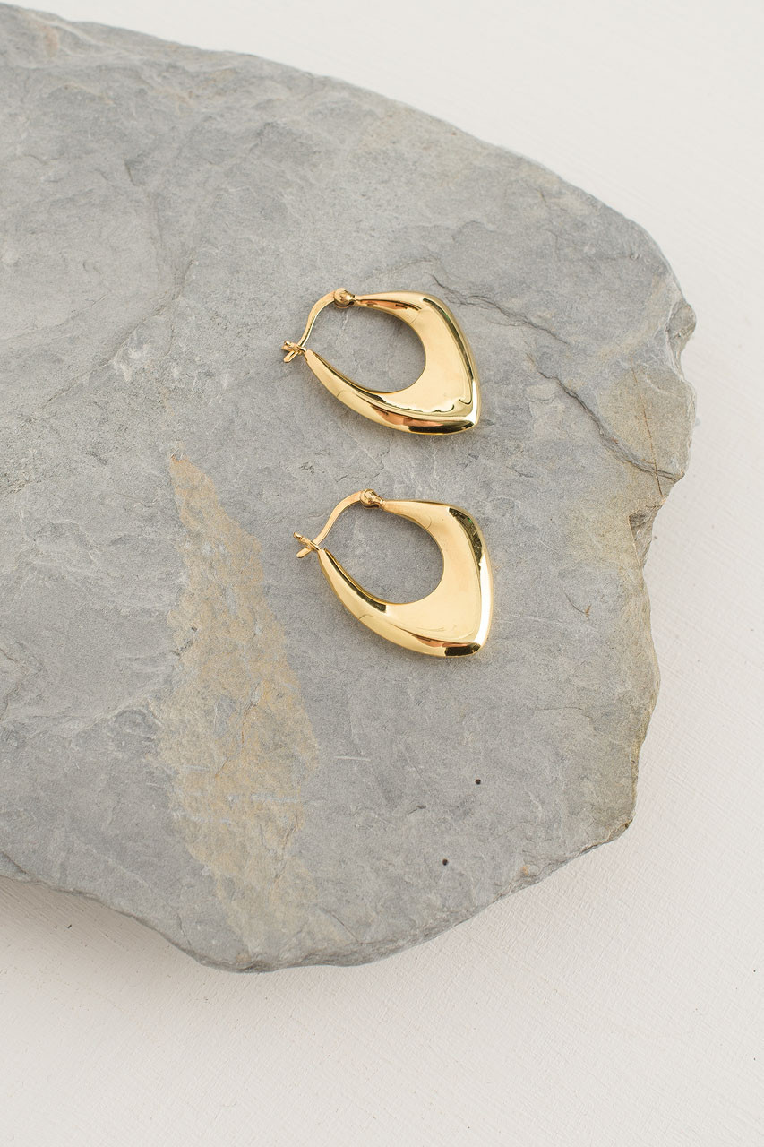 Gold Jazz Hoop, 18K Gold Plated
