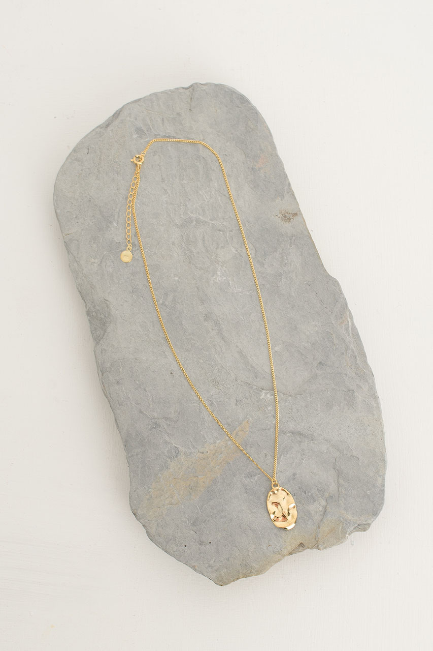 Crushed Oval Necklace, 18K Gold Plated