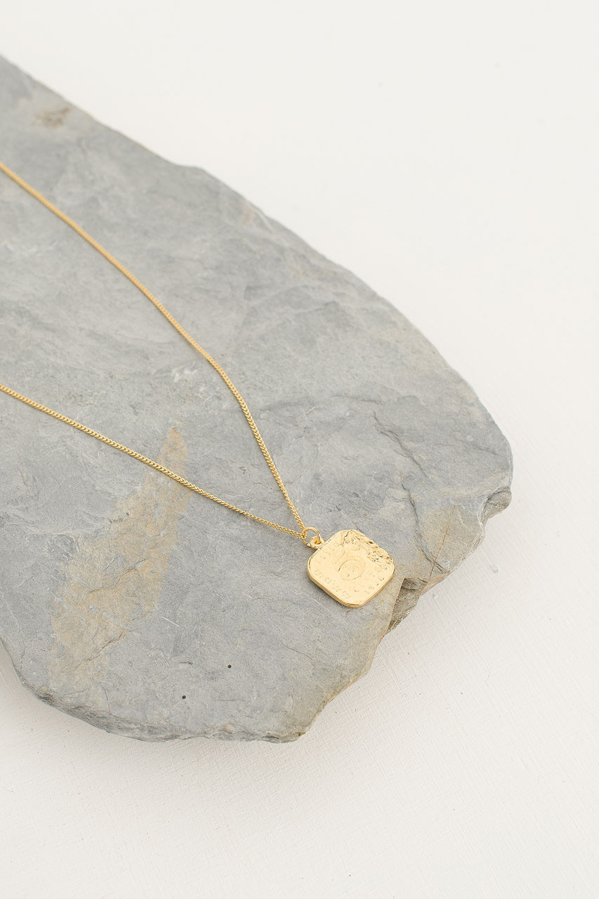 Five Cents Necklace, 18K Gold Plated