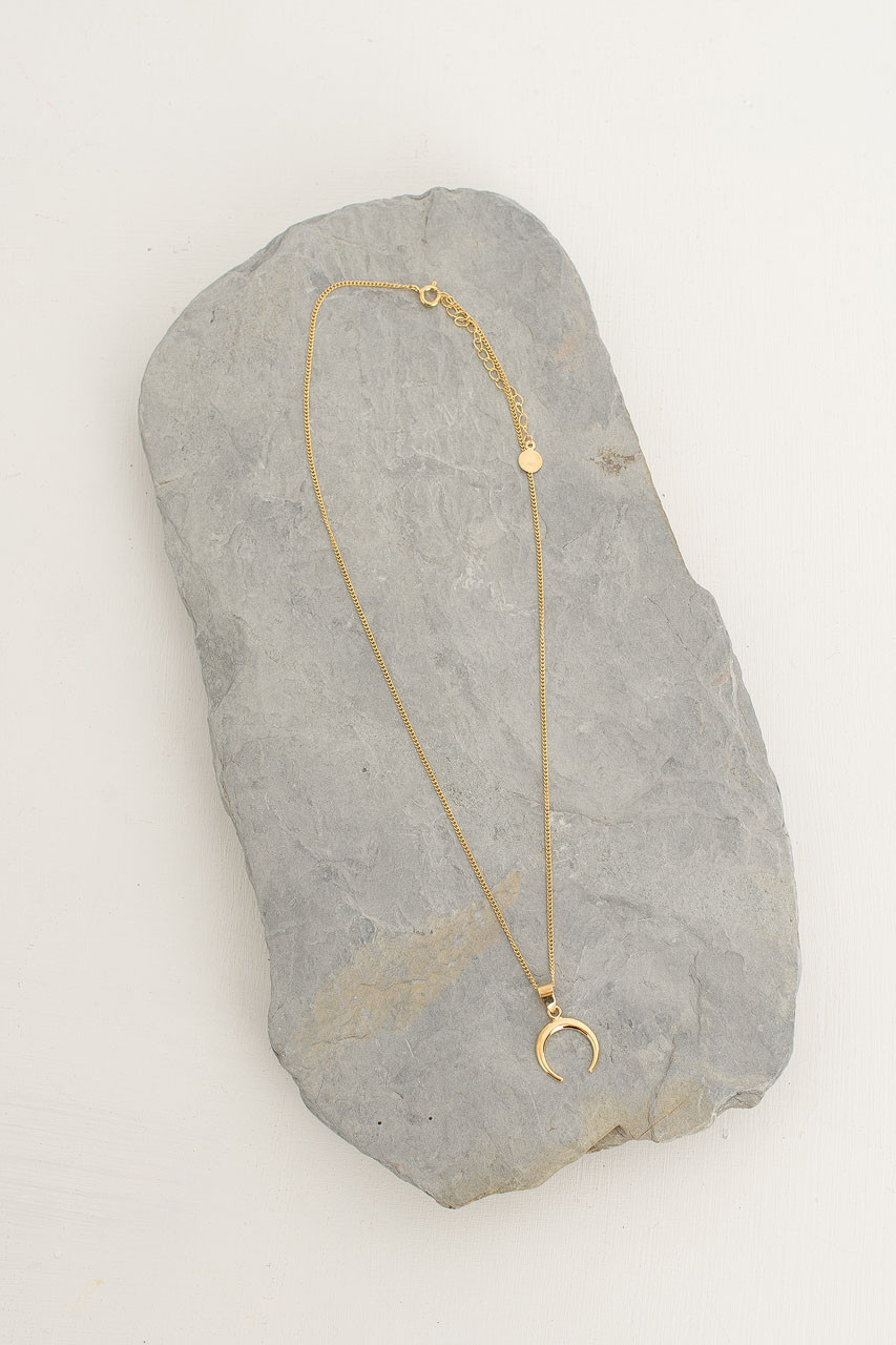 Gold Mini Crescent Necklace, 18K Gold Plated