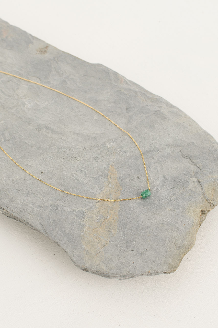 Moon Stone Necklace, 18K Gold Plated/Green