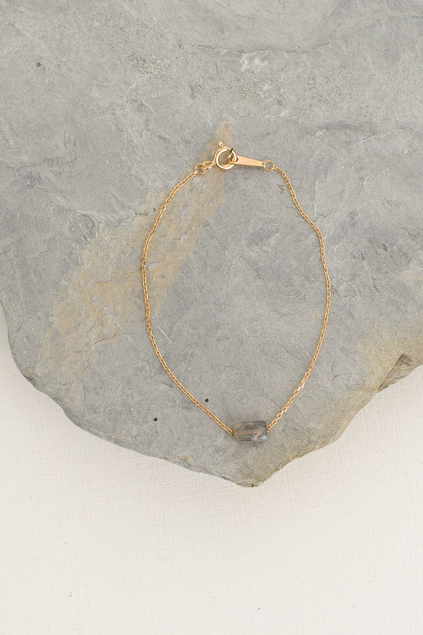 Moon Stone Bracelet, 18K Gold Plated/Graphite