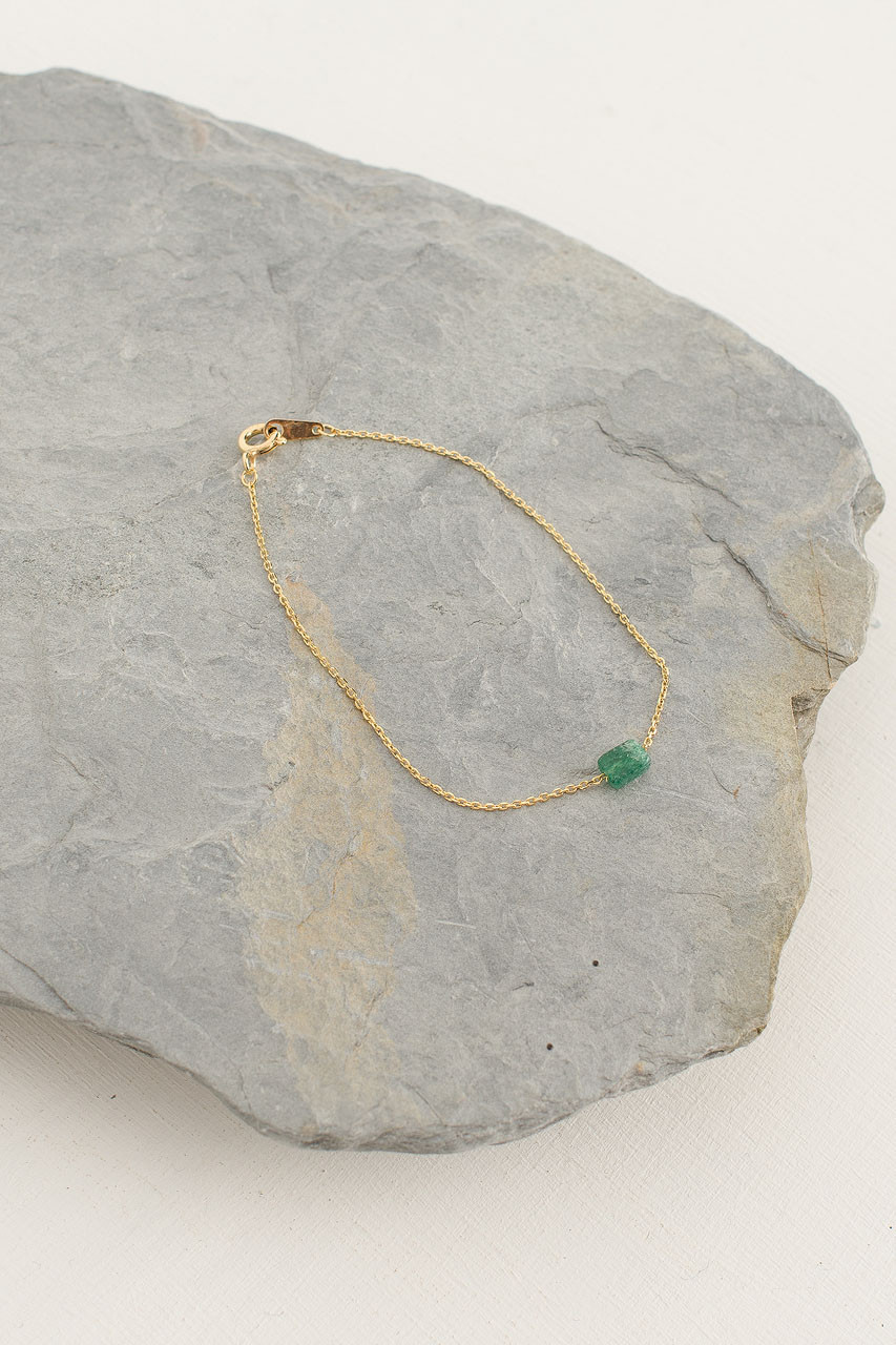 Moon Stone Bracelet, 18K Gold Plated/Green