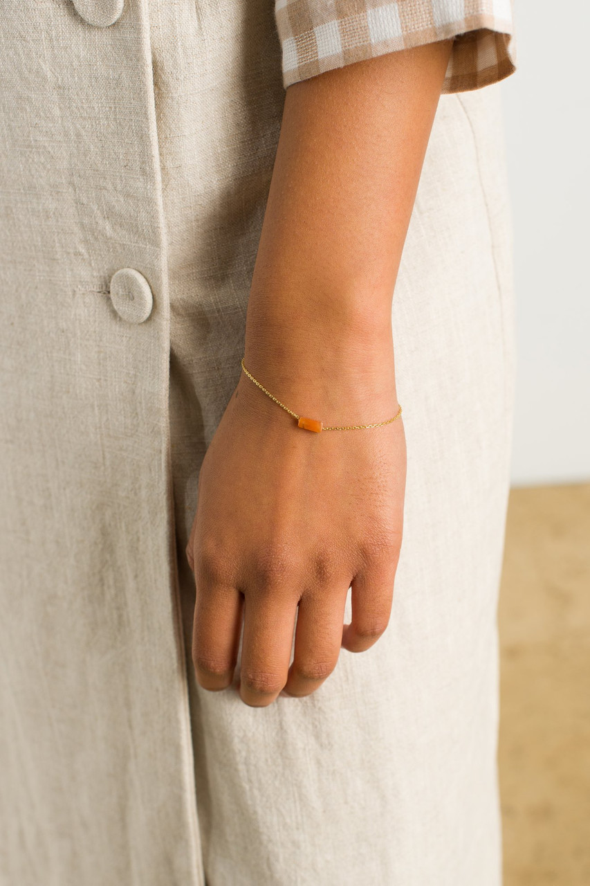 Moon Stone Bracelet, 18K Gold Plated/Green