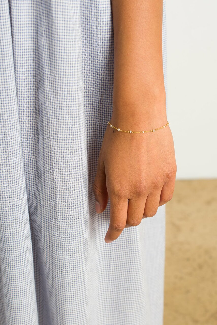 Diana Pearl Bracelet, 18K Gold Plated
