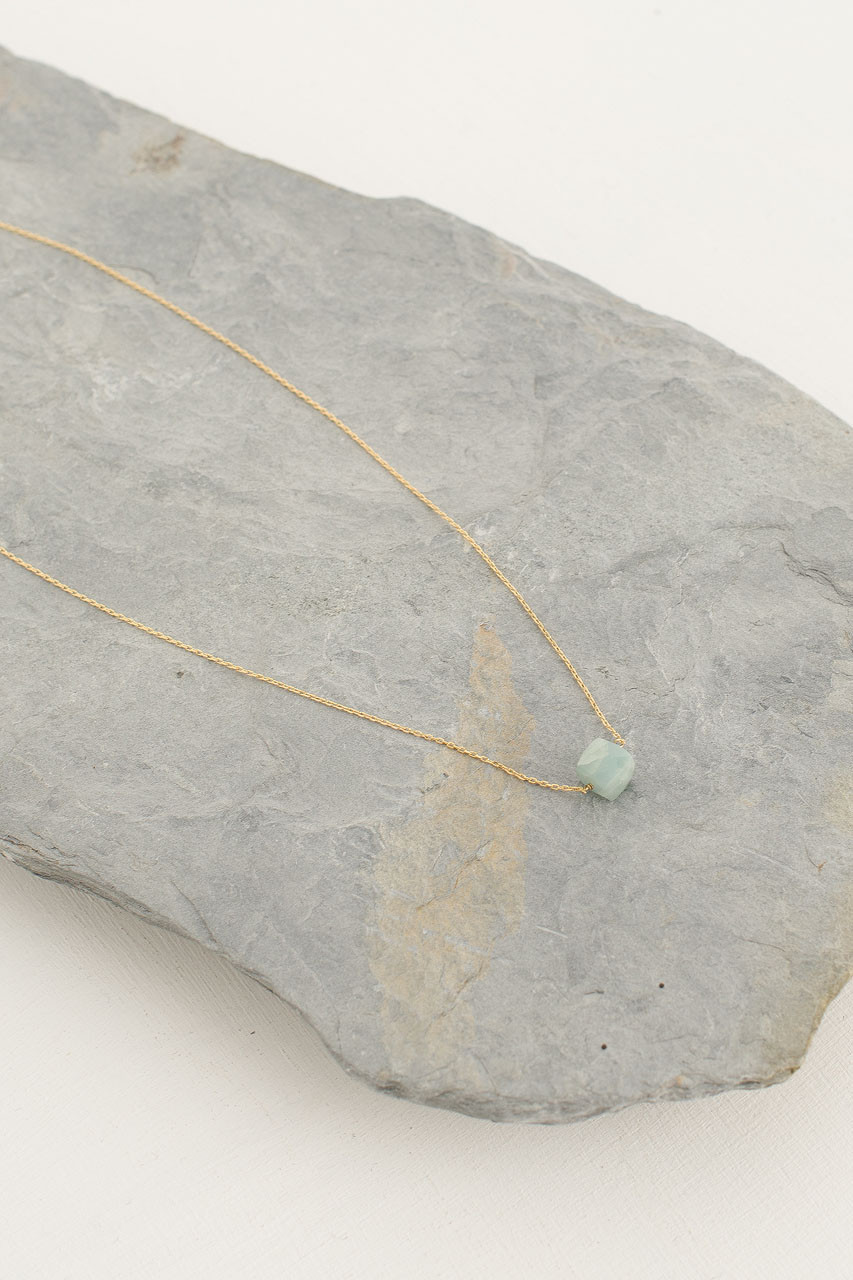Crystal Stone Necklace, 18K Gold Plated/Aqua