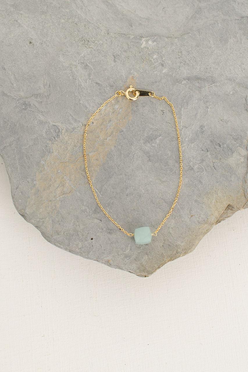 Crystal Stone Bracelet, 18K Gold Plated/Aqua