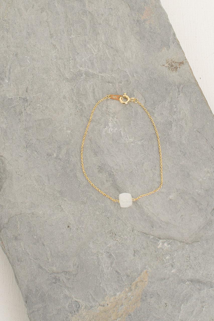 Crystal Stone Bracelet, 18K Gold Plated/Moon Stone