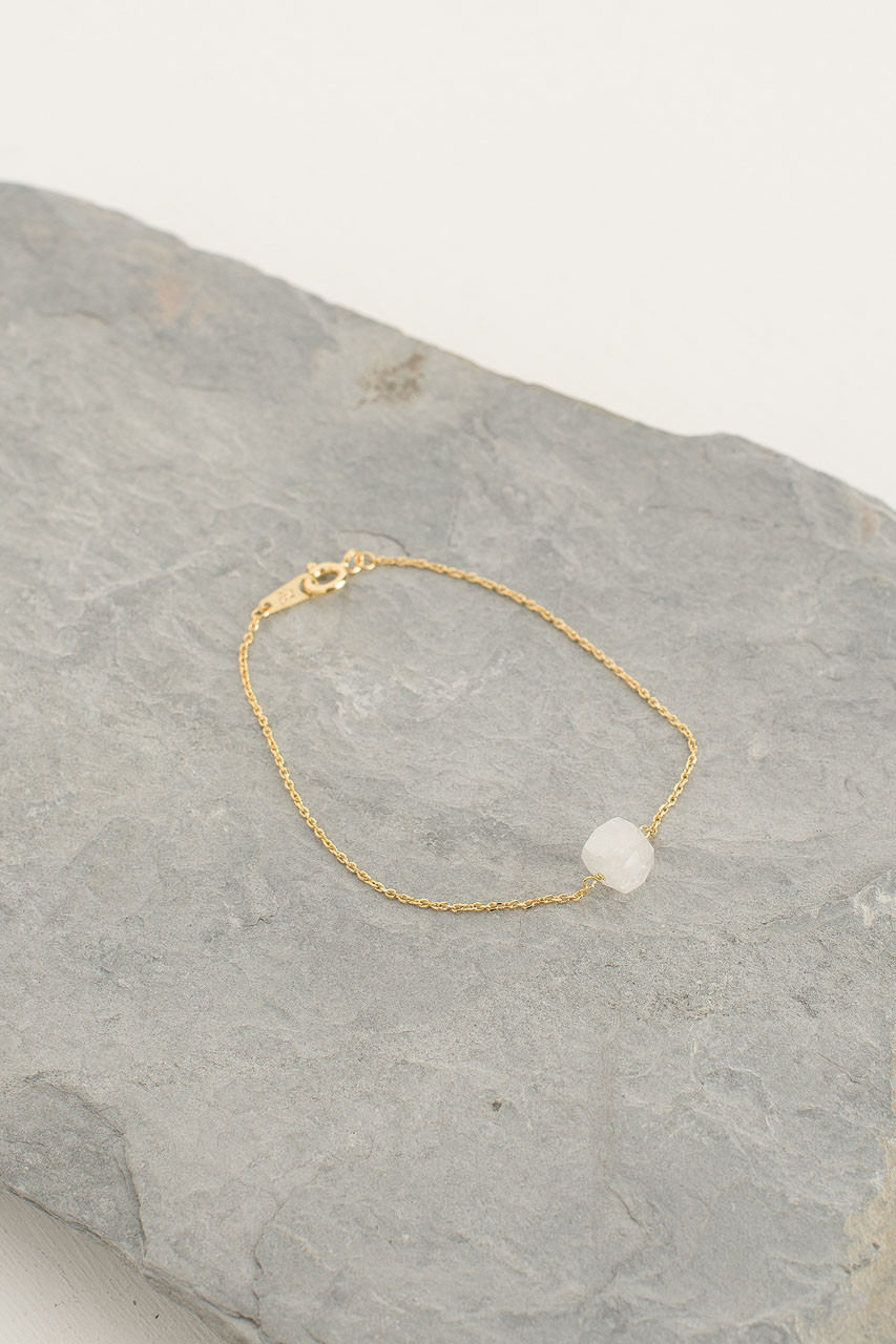 Crystal Stone Bracelet, 18K Gold Plated/Moon Stone